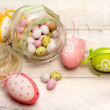 Stock Photo: Easter eggs and decorations