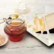 Stock Photo: Honey and pecorino cheese