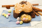 Easter dove and easter eggs- colomba pasquale — Stock Photo