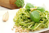 Pasta with pesto recipe — Stock Photo