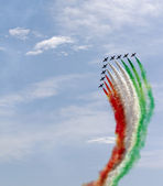 """frecce tricolore"" air show during the last stage of the ""giro d'italia 2014"" on june 1st, Trieste — Stock Photo"