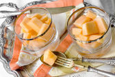 Melon desserts with vintage silverware — Stock Photo