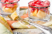 Dessert with fresh melon and watermelon — Stock Photo