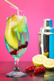 Iced fruit cocktail with shaker — Stock Photo