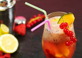 Fruit cocktail with shaker and fruits — Stock Photo