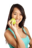 Asiatisk kvinna med äpple — Stockfoto