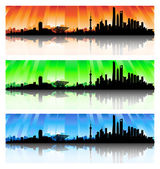Shanghai Skyline Set — Stock Vector