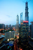 Shanghai highrise night view — Stock Photo