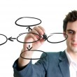 Businessman writing empty circles — Stock Photo #39493917