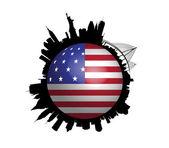 Il mondo new york skyline usa bandiera — Vettoriale Stock