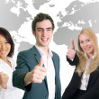 Business people smiling and cheering — Stock Photo