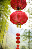 Chinese lantern on bamboo background — Stock Photo