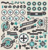 Conjunto de iconos de flechas retro — Vector de stock