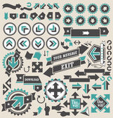 Retro arrows icon set — Stockvector