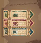 旧纸复古横幅设计与门票和优惠券 — 图库矢量图片