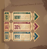 Old paper vintage banner design with tickets and coupons — Stock Vector