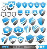 Security shield - symbols, icons and logo concepts collection — Stock Vector