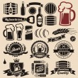 Beer and beverages design elements collection - Stok Vektör