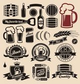 Bira ve meşrubat öğeleri koleksiyonu tasarım — Stok Vektör