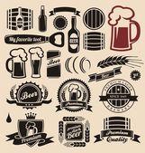 Birra e bevande insieme elementi di design — Vettoriale Stock