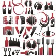 Stock Vector: Set of wine icons, symbols, signs and logo designs