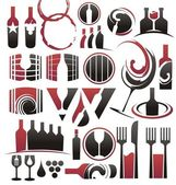 Set of wine icons, symbols, signs and logo designs — Stock Vector
