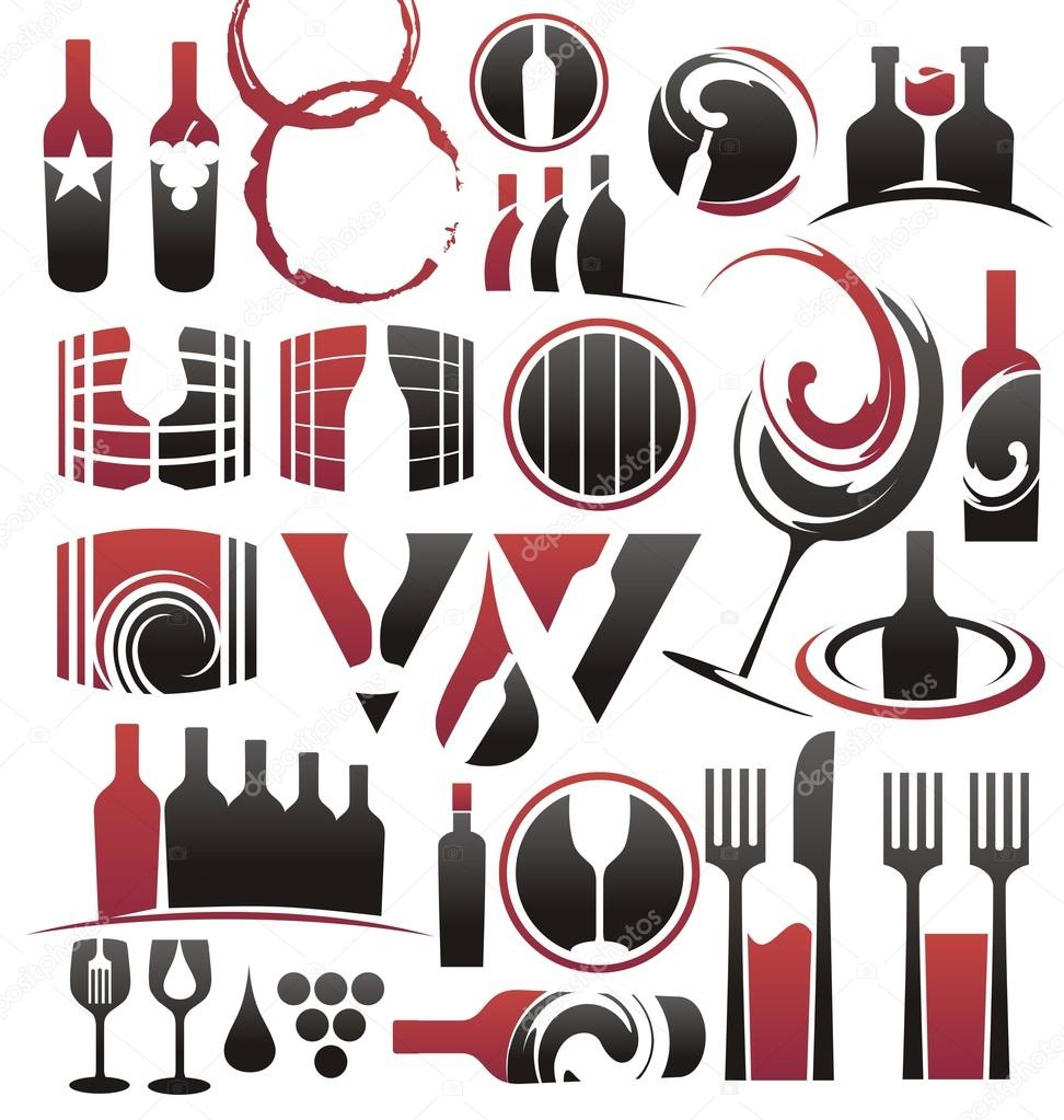 Collection of wine icons, symbols, signs, logo designs and design elements — Stock Vector #14170941