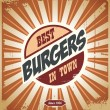 Retro burger sign - Stock Vector