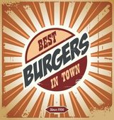 Cartel retro burger — Vector de stock
