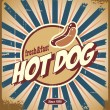 Stock Vector: Hot dog vintage sign