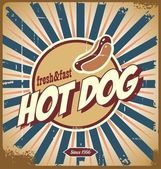Značka vintage hot dog — Stock vektor