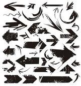 Ensemble de flèches de grunge — Vecteur