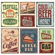 Tin advertising retro signs and posters — Stock Vector #14361105