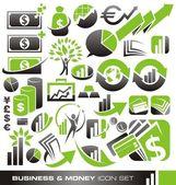 Set di icone di affari e soldi — Vettoriale Stock