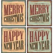 Vintage style Christmas tin signs or Christmas cards - Stock Vector