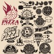 Pizza labels and icons - Vettoriali Stock