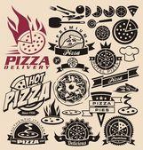 Le icone e le etichette pizza — Vettoriale Stock