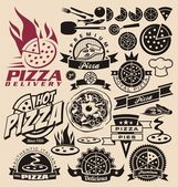 Iconos y etiquetas de pizza — Vector de stock