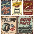Stok Vektör: Vintage car metal signs and posters