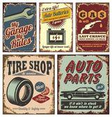 Carteles y señales metálicas de coches de época — Vector de stock