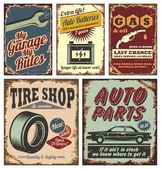 Vintage auto metalen borden en affiches — Stockvector