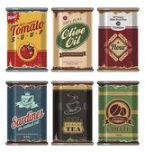 Retro alimentação latas vector coleção — Vetorial Stock