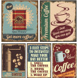 Vintage coffee posters and metal signs — Stok Vektör
