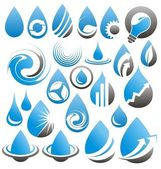 Set of water drops icons, symbols, logos and design elements — Stock Vector