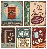 Vintage coffee posters and metal signs — Stock Vector