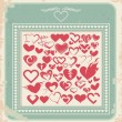 Stock Vector: Retro poster with heart icons for Valentines day