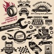 Vector set of vintage car symbols - Stok Vektr
