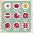 Retro set of food pictogram, icons and symbols - Stock Vector