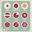 Retro set of food pictogram, icons and symbols — Stock Vector #18957551