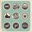 Set of promotional retro labels, badges and stamps - Stock Vector